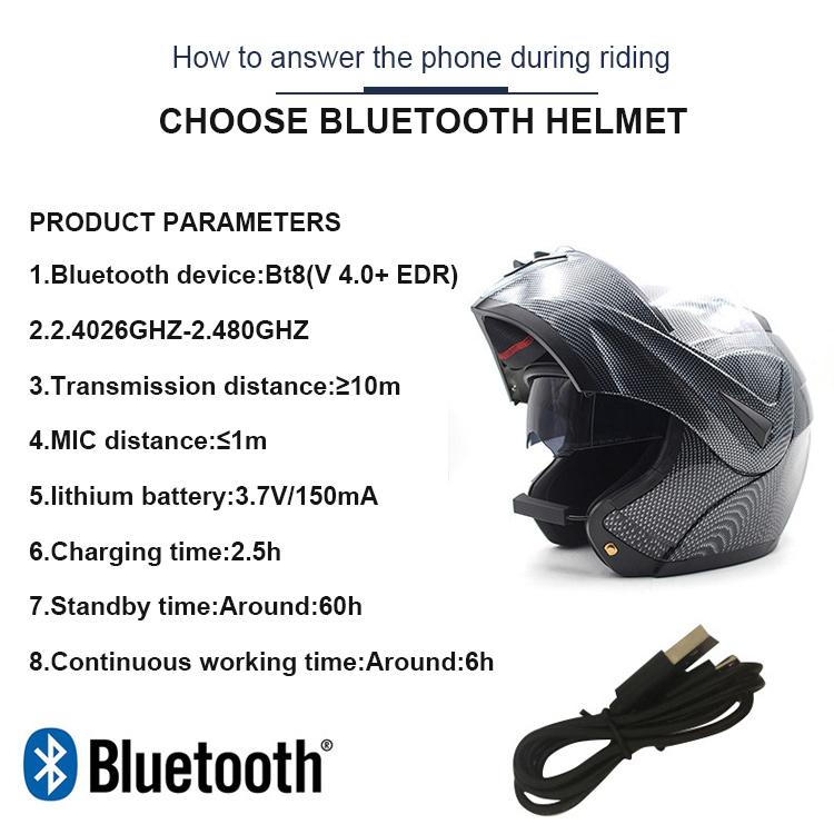 Hot Sale Full Face Flip Up Motorcycle Bluetooth Headset
